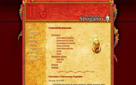 Screenshot of Menu Page stroganov.es - Restaurante STROGANOV especialidad en comida rusa | Menú - captured March 25, 2017