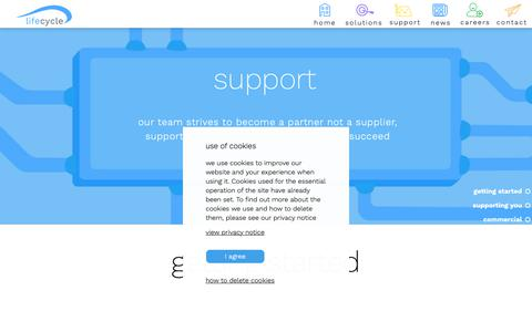 Screenshot of Support Page lifecycle-software.com - Lifecycle Software | Support - captured Sept. 28, 2018