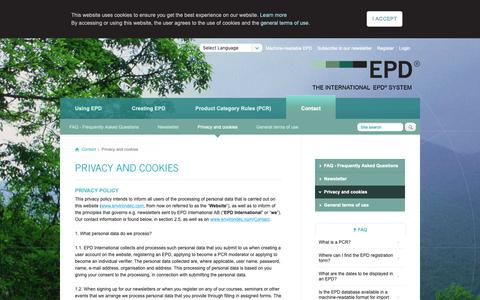 Screenshot of Privacy Page environdec.com - Privacy and cookies - The International EPD® System - captured Oct. 12, 2018