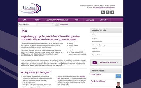 Screenshot of Signup Page horizonconsultantsregister.com - Join «  Horizon - captured Sept. 30, 2014