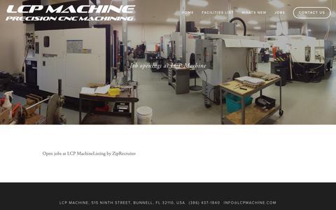 Screenshot of Jobs Page lcpmachine.com - Jobs — LCP Machine - captured Dec. 13, 2018