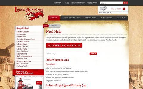 Screenshot of FAQ Page lobsteranywhere.com - Need Help - - captured Nov. 2, 2014