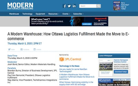 Screenshot of Signup Page mmh.com - A Modern Warehouse: How Ottawa Logistics Fulfillment Made the Move to E-commerce - Modern Materials Handling - captured Feb. 22, 2020