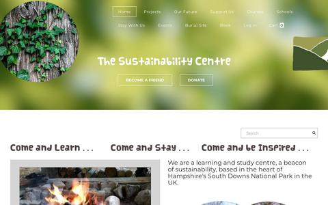 Screenshot of Home Page sustainability-centre.org - Sustainability Centre - captured Sept. 18, 2019