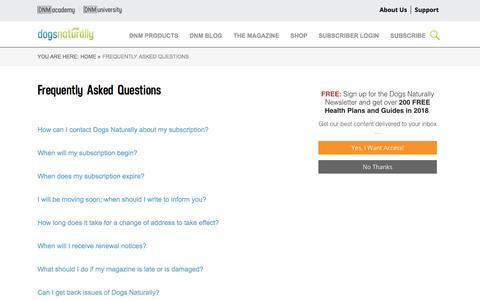 Screenshot of FAQ Page dogsnaturallymagazine.com - Frequently Asked Questions - captured Aug. 2, 2018