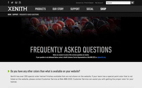 Screenshot of FAQ Page xenith.com - Frequently Asked Questions | Xenith Football Helmets | Product Info - captured Sept. 17, 2014