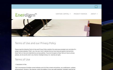Screenshot of Terms Page enerdigm.com - Terms of Use and our Privacy Policy - Enerdigm Enerdigm - captured Sept. 30, 2014