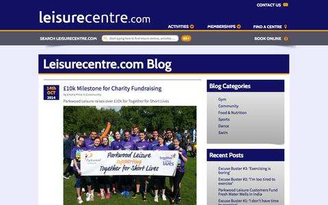 Screenshot of Blog leisurecentre.com - Blogs - LeisureCentre.com - captured Oct. 22, 2014