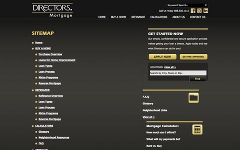 Screenshot of Site Map Page directorsmortgage.net - Sitemap - Directors Mortgage - captured Sept. 30, 2014
