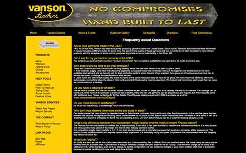 Screenshot of FAQ Page vansonleathers.com - Vanson FAQ - captured Oct. 26, 2014