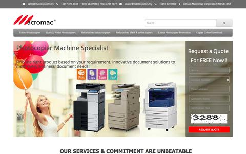 Screenshot of Home Page maccorp.com.my - Macromac Corporation (M) Sdn Bhd   Photocopier Specialist Malaysia   Photostat Machine & Photocopier Machine Rental Services in Malaysia - captured Sept. 26, 2017