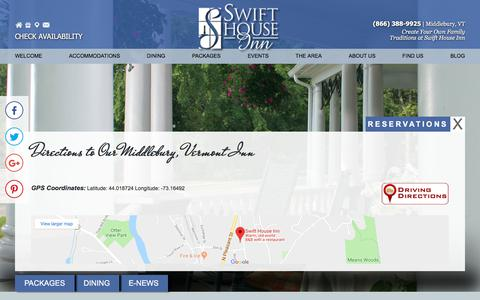 Screenshot of Contact Page Maps & Directions Page swifthouseinn.com - Swift House Inn: Middlebury Vermont - captured July 2, 2018