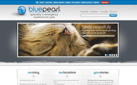 Screenshot of Home Page bluepearlvet.com - BluePearl Veterinary Partners - captured July 11, 2014