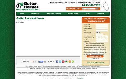 Screenshot of Press Page gutterhelmet.com - Gutter Helmet News | Gutter Helmet - captured Sept. 30, 2014