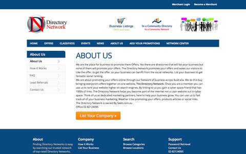 Screenshot of About Page directorynetwork.com.au - About The Directory Network Directory - Directory Network - The Directory Network Directory - captured Sept. 24, 2014