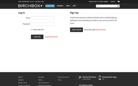 Screenshot of birchbox.com - Login | Birchbox - captured Sept. 2, 2016