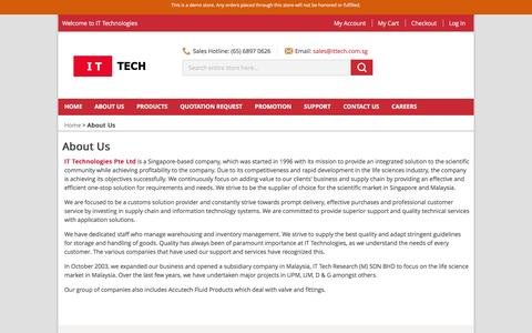 Screenshot of About Page ittech.com.sg - About Us - IT Technologies Pte Ltd - captured Feb. 10, 2016