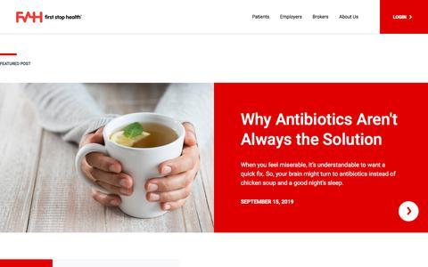 Screenshot of Blog fshealth.com - Telemedicine News | First Stop Health | Blog - captured Dec. 14, 2019