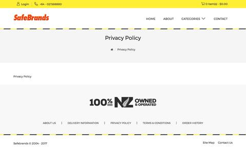 Screenshot of Privacy Page safebrands.net - Privacy Policy - captured Sept. 28, 2017