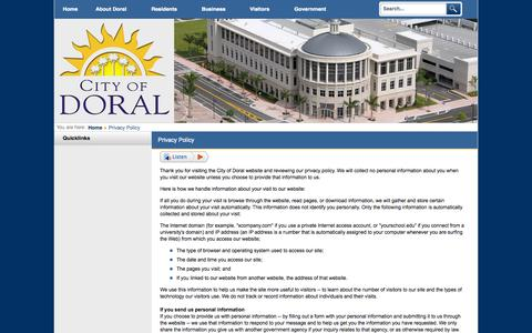 Screenshot of Privacy Page cityofdoral.com - City of Doral, Florida - Privacy Policy - captured July 21, 2015