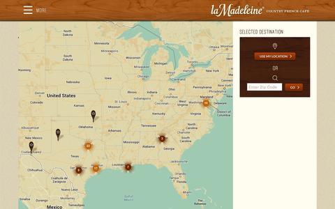 Screenshot of Locations Page lamadeleine.com - Locations - La Madeleine - captured Sept. 19, 2014