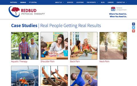 Screenshot of Case Studies Page redbudpt.com - Case Studies   Redbud Physical Therapy - captured Oct. 20, 2017