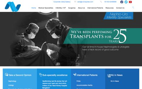 Screenshot of Home Page nuhospitals.com - Best Kidney Hospital Bangalore- Urologist in Bangalore- Nephrologists- Best Kidney Hospital- Urology Specialists- Kidney Stone Treatment- IVF Specialists- IVF in Bangalore- Infertility treatment in Bangalore- CT Scan - captured Feb. 21, 2016