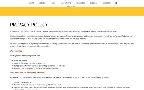 Screenshot of Privacy Page workingknowledge.org.uk - Privacy Policy – Working Knowledge - captured Oct. 2, 2018