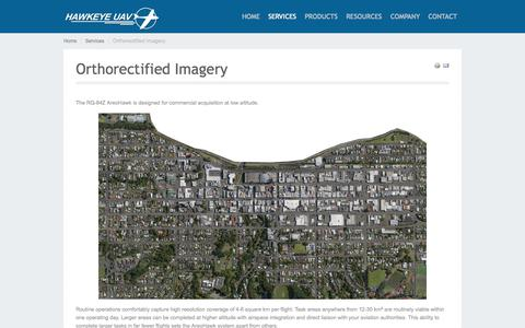 Screenshot of Services Page hawkeyeuav.com - Orthorectified Imagery - HAWKEYE UAV - captured Oct. 2, 2014