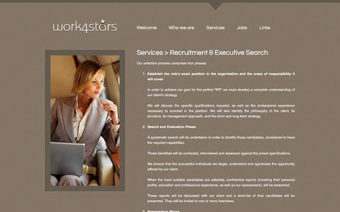 Screenshot of Services Page work4stars.com - Work4Stars - Recruitment and executive search - captured Dec. 2, 2016