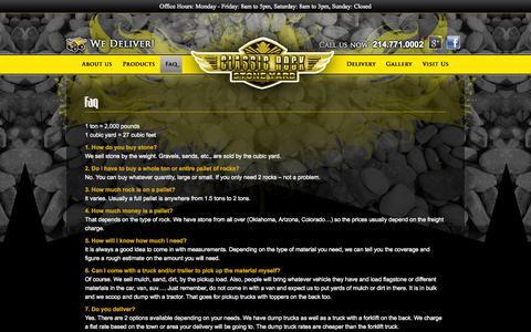 Screenshot of FAQ Page classicrockinc.com - Faq - Classic Rock Stone Yard - captured Sept. 29, 2014