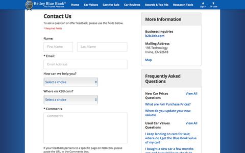 Screenshot of Contact Page kbb.com - Contact Us - Kelley Blue Book - captured July 20, 2017