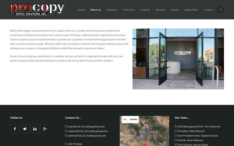 Screenshot of About Page procopyoffice.com - About Procopy Office Solutions, Inc. | Tempe, AZ - captured Feb. 24, 2016