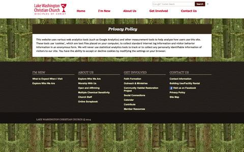 Screenshot of Privacy Page lwchristian.org - Privacy Policy - LWCC - captured Oct. 2, 2014