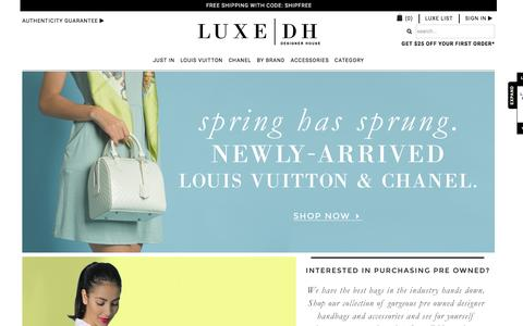 Screenshot of Home Page luxedh.com - Discount Pre Owned Louis Vuitton Handbags, Discount Vintage Chanel Handbags & More.  | Luxe Designer House - captured March 9, 2016