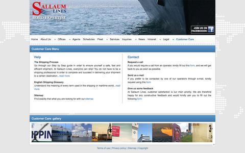 Screenshot of Menu Page sallaumlines.com - Sallaum Lines | Customer Care Options - captured Oct. 8, 2014