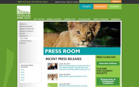 Screenshot of Press Page zoo.org - Woodland Park Zoo Press Room - Woodland Park Zoo Seattle WA - captured July 6, 2017