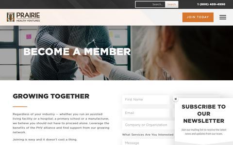 Screenshot of Signup Page phvne.com - Join | Prairie Health Ventures - captured Sept. 28, 2018
