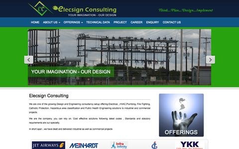 Screenshot of Home Page elecsign.com - Engineering Design Services and Solutions, Engineering Consultancy | Elecsign Consulting - captured Oct. 2, 2014