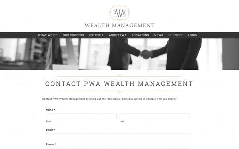 Screenshot of Contact Page pwausa.com - Contact PWA Wealth Management - Financial Advisors In Pittsburgh - captured Nov. 11, 2018
