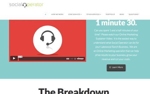 Screenshot of Home Page social-operator.com - Social Operator Web Design & Online Marketing Lakewood Ranch - captured Aug. 12, 2015