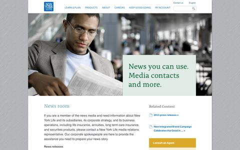 Screenshot of Press Page newyorklife.com - News room - captured Sept. 19, 2014