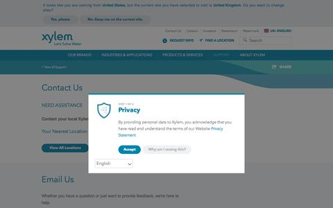 Screenshot of Contact Page xylem.com - Contact Us | Xylem UK - captured July 15, 2018