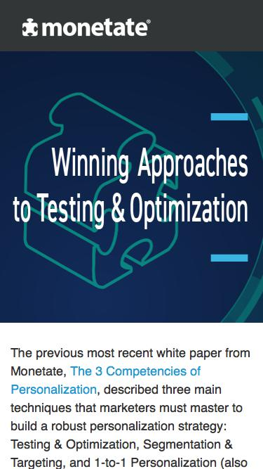 Winning Approaches to Testing & Optimization | White paper from Monetate