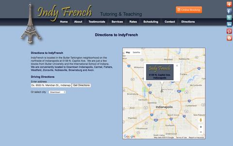 Screenshot of Maps & Directions Page indyfrench.com - Directions to IndyFrench Classes & Lessons - captured Aug. 5, 2016