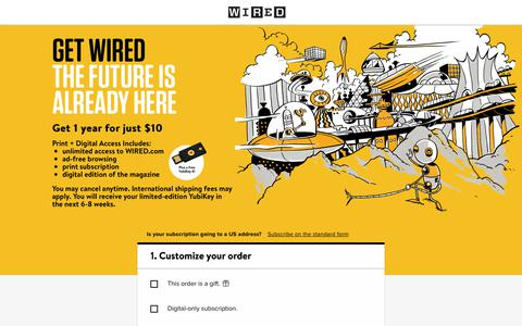 Screenshot of Landing Page wired.com - WIRED International & Overseas Subscription - captured Sept. 19, 2018