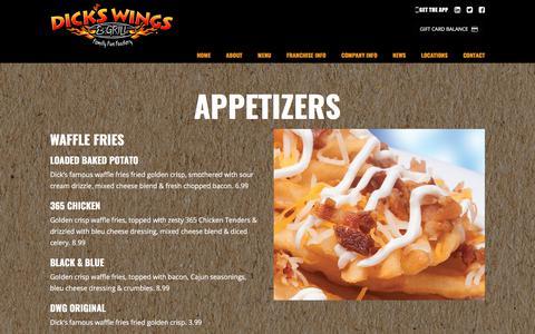 Screenshot of Menu Page dickswingsandgrill.com - Menu – Dicks Wings and Grill - captured Nov. 1, 2017