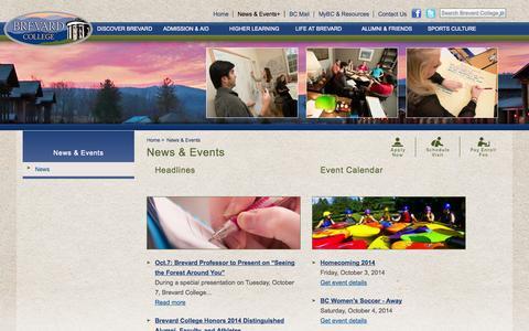 Screenshot of Press Page brevard.edu - News & Events | Brevard College - captured Oct. 5, 2014