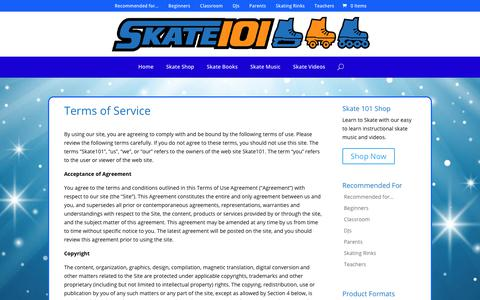Screenshot of Terms Page skate101.com - Terms of Service - Skate 101 - captured Oct. 2, 2018