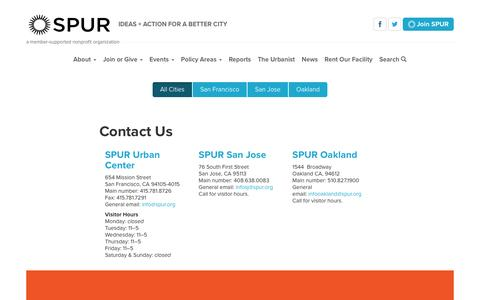 Screenshot of Contact Page spur.org - All Cities | SPUR - captured July 21, 2016